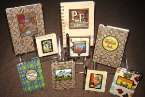 Selection of journals, notepads and stickynote holders