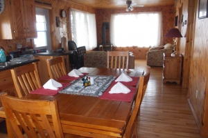 The cottages are all natural knotted pine inside.  All furnishings (inside and out), propane bar-b-qs, bedding, linens, dishes, glass wear, and pots and pans are included.